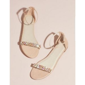{ db studio } faux suede gem strap flat sandals